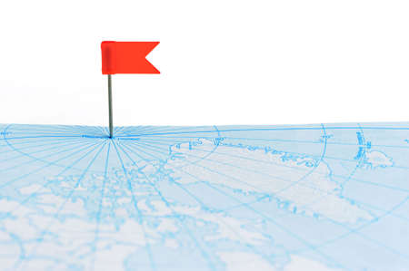 pinpoint: Flag a pin. A label on a planimetric map Stock Photo