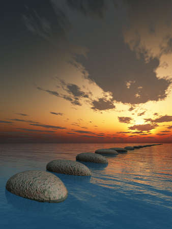 rock in night sea. The abstract bridge in the open ocean from a pebble. Fantastic sunset photo