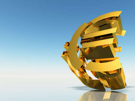 detritus: The destroyed Euro. 3d rendering on a background of a blue gradient Stock Photo