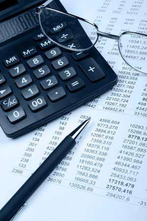financier: The financial report. A workplace of the financier. Blue tone