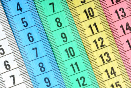 Measuring tape of the tailor. Abstract color background photo