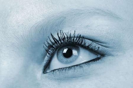Female eye - blue tone. A photo close up photo