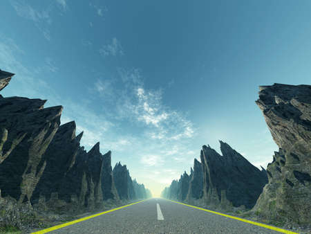 Asphalt road. A transport highway with high mountain.  Stock Photo - 6533715