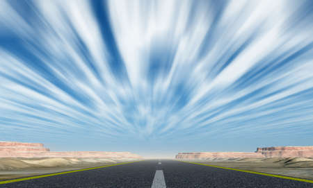 Asphalt road. A transport highway with with motion clouds Stock Photo - 6533736