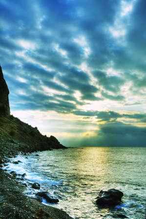 The night sea. The sea photographed at a dawn with long endurance. Crimea, Ukraine Stock Photo - 6558531