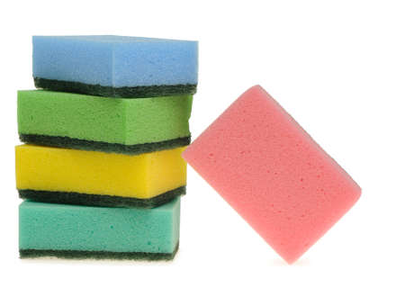 Set color sponge for washing. It is isolated on a white background. photo