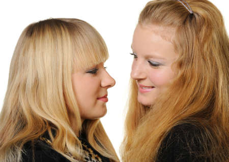 Two girlfriends. Two young girls, a photo close up photo