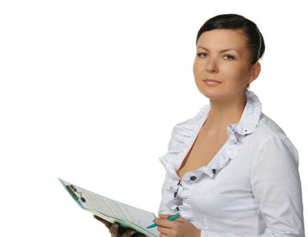secretarial: The woman with official papers. It is isolated on a white background.