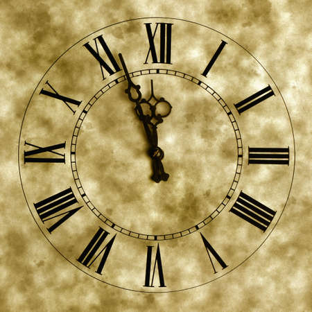 numeral: Old hours with texture. Old hours with figured arrows Stock Photo