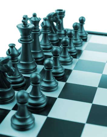 Chess. Desktop logic game. Blue color tone Stock Photo - 6811815