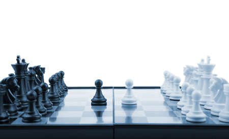 Chess. Desktop logic game. Blue color tone Stock Photo - 6811820