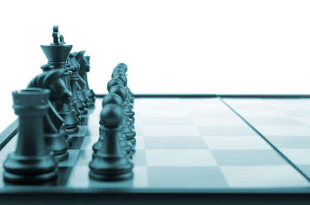Chess. Desktop logic game. Blue color tone Stock Photo - 6811802