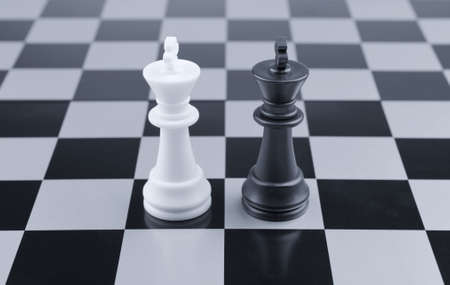 Opposition. Chessmen of competing kings, conceptual concept of competition photo