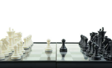 Chess. Desktop logic game. First motion Stock Photo - 6849076