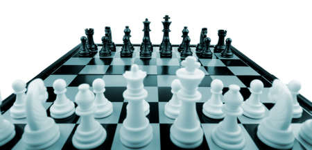Chess. Desktop logic game. Blue color tone Stock Photo - 6892599