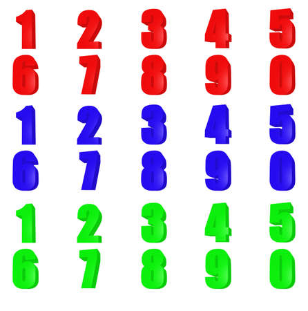 plastik: Set render number. Red, green, blue color. Isolated on white Stock Photo
