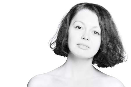 The beautiful young woman, high key.Natural beauty. It is isolated on a white background Stock Photo - 6924066