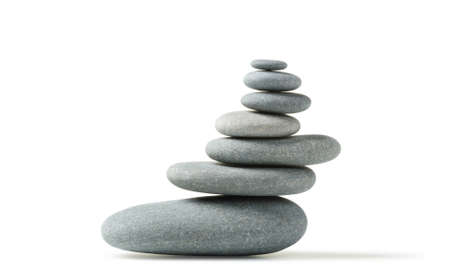Balance. A construction from a pebble. It is isolated on a white background Stock fotó