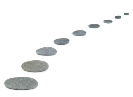 Rij steentjes. Zee stenen. Het is geïsoleerd op een witte achtergrond