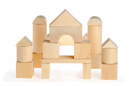 toys pattern: The wooden house. Childrens toys - wooden cubes. It is isolated on a white background Stock Photo