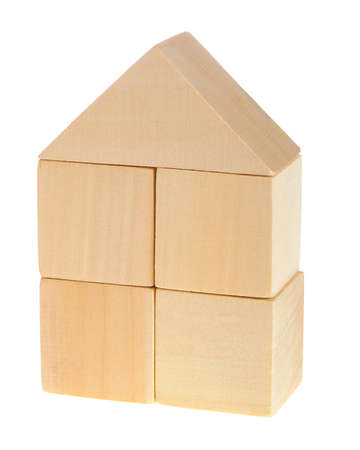 yellow block: The wooden house. Childrens toys - wooden cubes. It is isolated on a white background Stock Photo