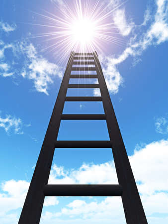 Ladder in the sky. An iron rusty ladder on a background of the blue sky photo