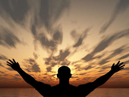 hands lifted: Meeting of the sun. The man on with the hands lifted above, on a background of a sunset Stock Photo