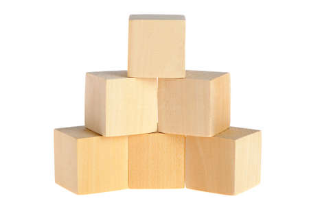 wood block: construction from wooden cubes. It is isolated on a white background Stock Photo