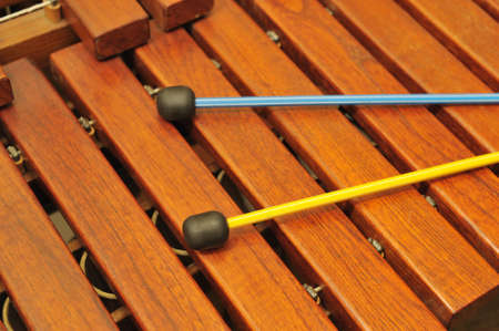 resonator: Wood xylophone and mallets. A photo close up. Original color