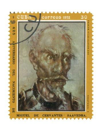 don quixote: Stamp with image Don Quixote author Miguel de Cervantes Stock Photo