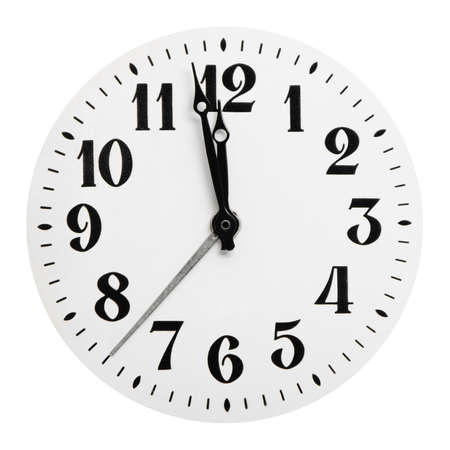 clock face: Dial of analog hours. It is isolated on a white background Stock Photo