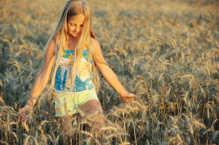 The girl in filed wheats. Warm light sunset Stock Photo - 7386573