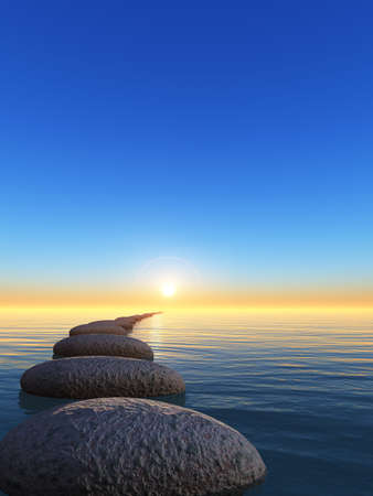 solid line: rock and sunrise. The abstract bridge in the open ocean from a pebble