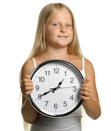 The girl with large clock. It is isolated on a white background Stock Photo - 7395666