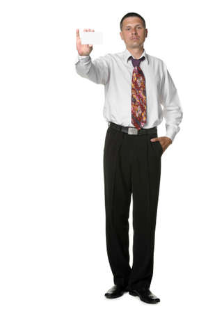 The businessman with empty cutaway. It is isolated on a white background photo