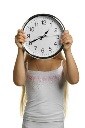 curfew: The girl with large clock. It is isolated on a white background Stock Photo