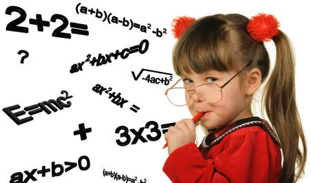 mathematical proof: The girl and mathematical formulas. It is isolated on a white background