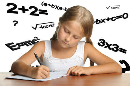 The girl and mathematical formulas. It is isolated on a white background Stock Photo - 7621348