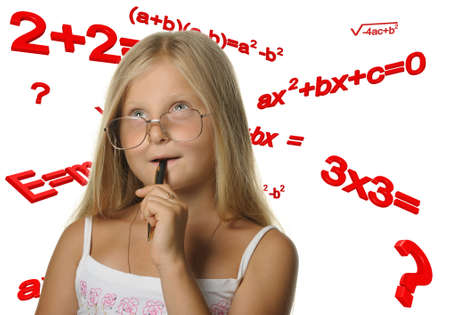 The girl and mathematical formulas. It is isolated on a white background Stock Photo - 7621350