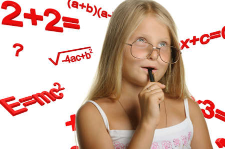 The girl and mathematical formulas. It is isolated on a white background Stock Photo - 7628357