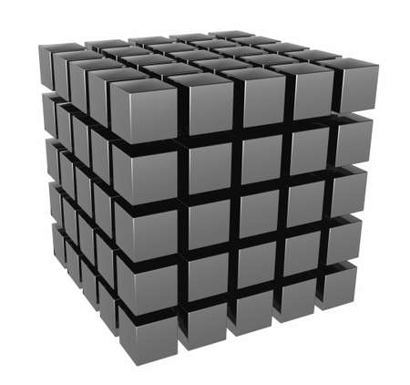 The three-dimensional image of a set of cubes. It is isolated on a white background photo