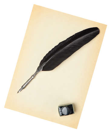 Feather quill and inkwell on an old paper. Isolated on white Фото со стока - 7881202