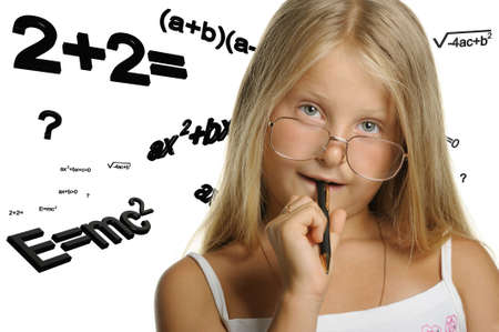 The girl and mathematical formulas. It is isolated on a white background Stock Photo - 7881207
