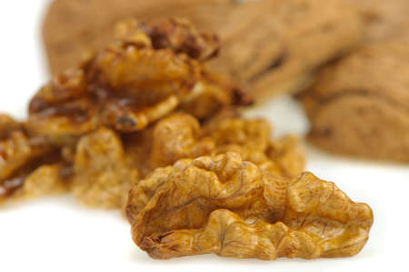 Kernel walnut. A photo close up walnut. It is isolated on a white background photo