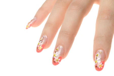 Female hand with nail art - figure a camomile. It is isolated on a white background Stock Photo - 7949071