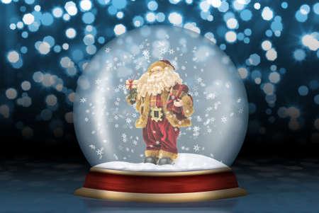 esfera de cristal: Esfera de cristal Santa Claus. Paisaje de Navidad creado por medio de la tecnolog�a inform�tica