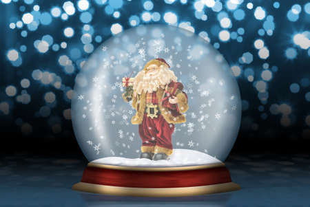 snow falling: Glass sphere Santa Claus. Christmas scenery created by means of computer technology