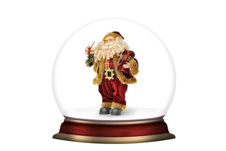 snow storm: Glass sphere with Santa Claus isolated. Christmas scenery created by means of computer technology Stock Photo