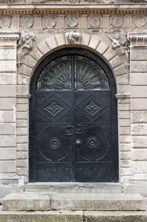 Iron doors, input in a building. Lvov, Ukraine photo