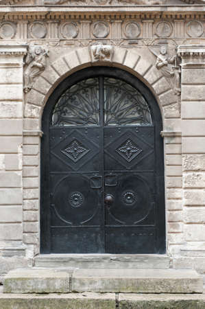 Iron doors, input in a building. Lvov, Ukraine photo